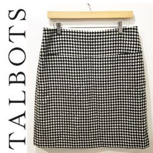 TALBOTS 10 Skirt Black White Herringbone Check